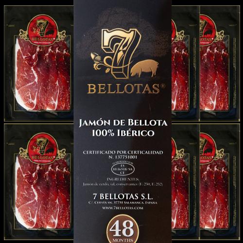 """Prosciutto 7 Bellotas® """"Gran Reserva"""" Tagliati a Mano Pack 5X80gr."""