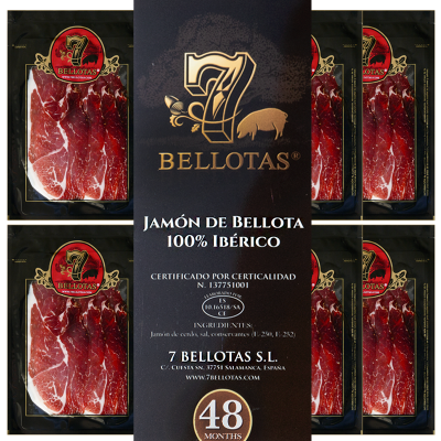 """Jamón 7 Bellotas® """"Gran Reserva"""" BELLOTA Cortado a Mano Pack 5X80gr."""